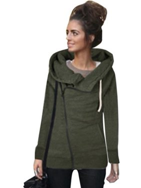 Womens Zipper Hoody Hoodie Sweater Hooded Pullover Long Sleeve Sweatshirt Jumper Coat Tops Outwear Casual