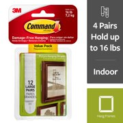 Command Large Picture Hanging Strips Value Pack, White, 12 Strips/Pack