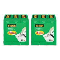 (2 pack) Scotch Magic Tape Refill 3 Pack, 3/4in. x 1000in per Roll