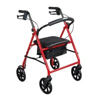 "Drive Medical Steel Rollator Rolling Walker with 8"" Wheels, Red"