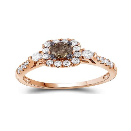 14kt Rose Gold Womens Round Cognac-brown Color Enhanced Diamond Solitaire Bridal Wedding Engagement Ring 3/4 - Rose Gold Wedding Colors