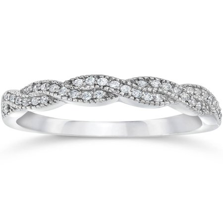 Pompeii3 1/8ct Pave Diamond Infinity Vintage Wedding Anniversary Ring 14K White - Wedding Pave