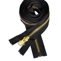 "ZipperStop Wholesale Authorized Distributor YKK® 27"" inch Chaps Extra Heavy Duty Weight Jacket Zipper YKK #10 Brass ~ Separating ~ 580 Black (1 Zipper/pack) Crafter's Special"
