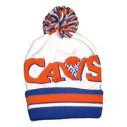 c6558e187ca7b Cleveland White Jersey Striped Cuffed Ball Top Knit Beanie Hat (TS 291), One