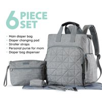 SoHo Collections, Unisex Designer Diaper Bag Backpack, 6 Piece Set with Stroller Straps, Kenneth (Gray)
