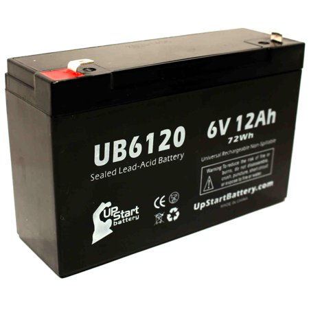 Compatible PERMA POWER SPS1800L Battery - Replacement UB6120 Universal Sealed Lead Acid Battery (6V, 12Ah, 12000mAh, F1 Terminal, AGM, SLA) - Includes TWO F1 to F2 Terminal Adapters