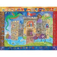 Oopsy Daisy - Knight and Castle Canvas Wall Mural 42x32, Donna Ingemanson