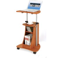 Techni Mobili Sit-to-Stand Rolling Adjustable Height Laptop Cart With Storage, Woodgrain (RTA-B002-WG01)