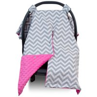 Kids N' Such 2 in 1 Car Seat Canopy Cover with Peekaboo Opening™ - Large Carseat Cover for Infant Carseats - Best for Baby Girls - Use as a Nursing Cover - Chevron with Hot Pink Dot Minky