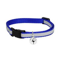 Wideskall Adjustable Nylon Safety Breakaway Cat Collar with Bell, Blue