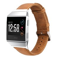 Fitbit Ionic Watch Bands, Mignova Genuine Leather Wristband Bracelet Watch Band Strap with Stainless Steel Buckle Clasp for Fitbit Ionic Smart Fitness Watch (Light Brown)