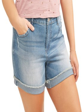 "Women's Plus 5"" Cuffed Basic Denim Shorts"