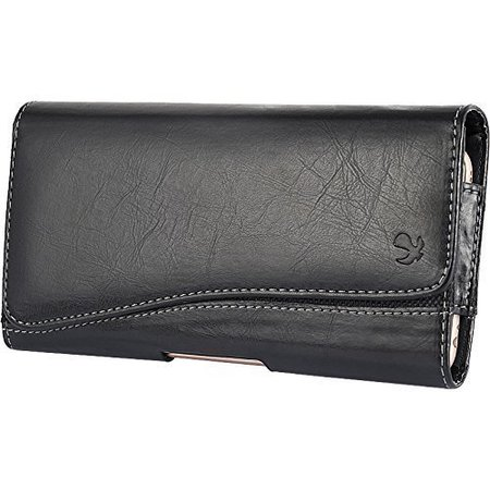 LG L70 Realm Exceed 2 Ultimate 2~ Horizontal Leather Pouch Case Holster Black 2