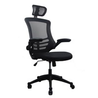 Techni Mobili Modern High-Back Mesh Executive Office Chair with Headrest and Flip-Up Arms, Black (RTA-80X5)