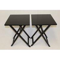 eHemco Ez Folding TV Tray Table Square Top - Hard Wood in Black set of 2