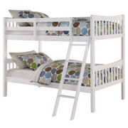 Angel Line Freemont Twin Over Twin Convertible Wood Bunk Bed, White