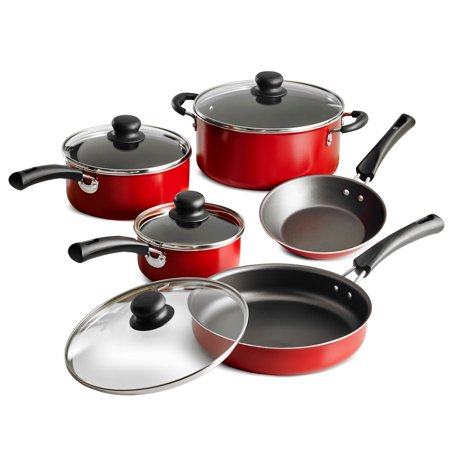 All Clad Stainless Steel Cookware Set - Tramontina Non-Stick Red Cookware Set, 9 Piece