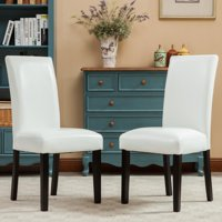 Roundhill Donatello Urban Style Solid Wood Leatherette Padded Parson Chair Set of 2, Multiple Colors Available