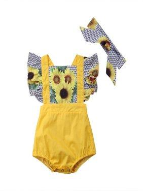 Newborn Toddler Baby Girls Summer Sunflower Romper Bodysuit Headband Brace Outfits Clothes
