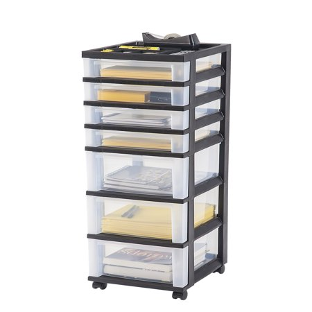 IRIS 7-Drawer Rolling Storage Cart with Organizer Top, Black (Under Bed Rolling Cart)