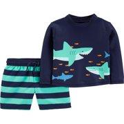 Child of Mine by Carter's Long Sleeve Rashguard and Swim Trunks, 2pc Swim Set (Toddler Boys)