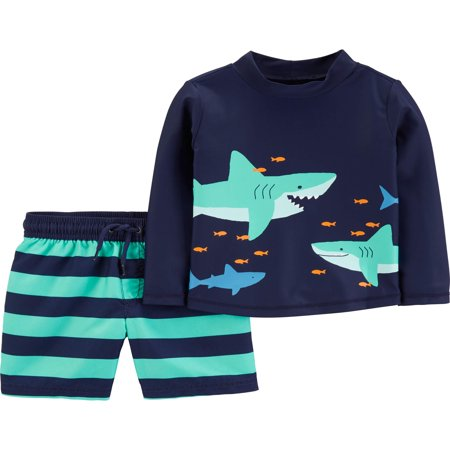 Long Sleeve Shirt and Shorts Rashguard, 2 piece swim set (Baby Boys)