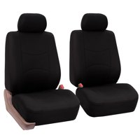FH Group Universal Flat Cloth Pair Bucket Seat Cover, 2 Pack, Black
