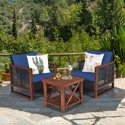 3-Piece Gymax Rattan Wicker Patio Conversation Outdoor Furniture Set