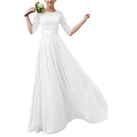 Long Formal Dresses Women Lace Maxi Evening Cocktail Party Ball Gown Prom 1/2 Sleeve Pageant Wedding Bridesmaid Dress ()