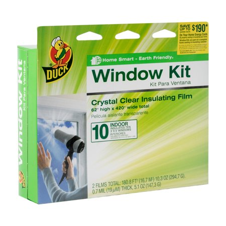 "Insulated Vinyl Windows - Duck Indoor Window Insulation Kit, Insulates 10 Windows, 62"" x 420"" Film"
