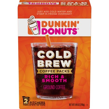 Dunkin' Donuts Cold Brew Coffee Packs, Smooth & Rich Ground Coffee, (Best Coffee Cold Brew System)