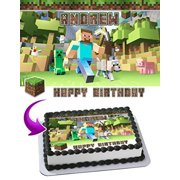 MINECRAFT Edible Cake Topper Personalized Birthday 1/4 Sheet Decoration Custom Sheet Party Birthday Sugar Frosting Transfer Fondant Image Edible Image for cake