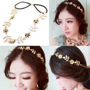 Girl12Queen Women Elegant Baroque Leaf Flower Elastic Headband Hair Band  Party Beach Gift 1caf62073243