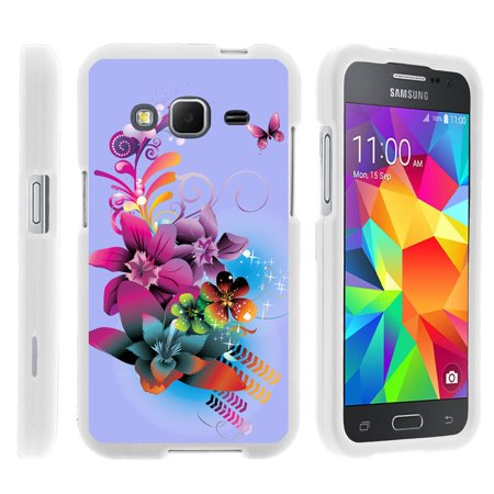 Samsung Galaxy Core Prime G360, [SNAP SHELL][White] 2 Piece Snap On Rubberized Hard White Plastic Cell Phone Case with Exclusive Art -  Purple Flower Butterfly ()