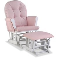 Storkcraft Swirl Hoop Glider and Ottoman Pink Blush Cushions with White Finish