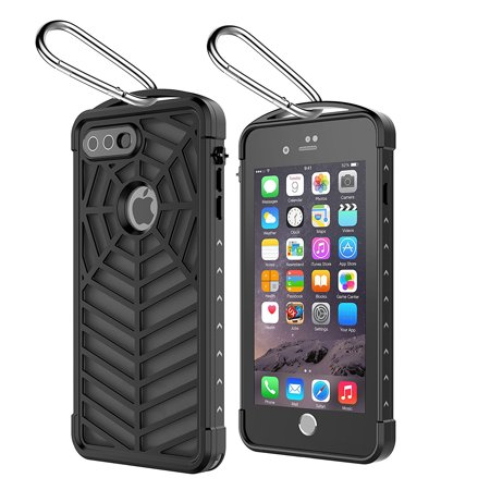 For iPhone 6/7/8 Plus Case Waterproof,Sport Case Spider Series IP68 With Touch ID Shockproof Drop proof Snowproof Dirtproof Spiderweb Design Case Full Body Rugged Case Transparent Black