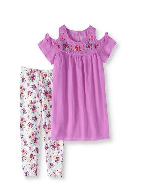 Girls' Cold-Shoulder Chiffon Tunic and Floral Capri Legging 2-Piece Set