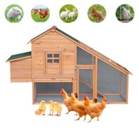 "Zimtown large chicken coop 75"" Backyard Wooden Chicken Coop Hen House Poultry Nest Box Hen House Cage - Natural/Green"