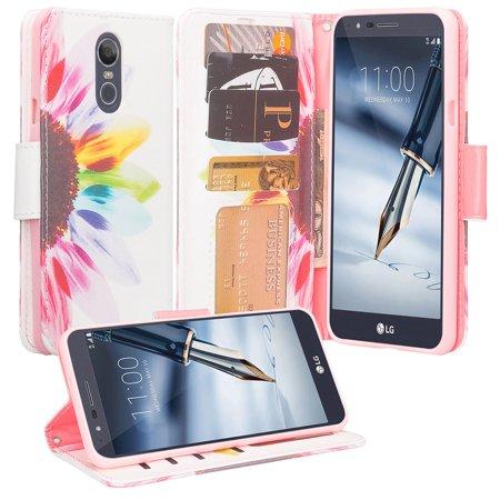 LG Stylo 4 Case,LG Stylo 4 Plus Case [Wrist Strap] Cute Girls Women Pu Leather Wallet Phone Case ID Slot & Kickstand for LG Stylo 4/Stylo 4 Plus - Sun (Phone Strap Set)