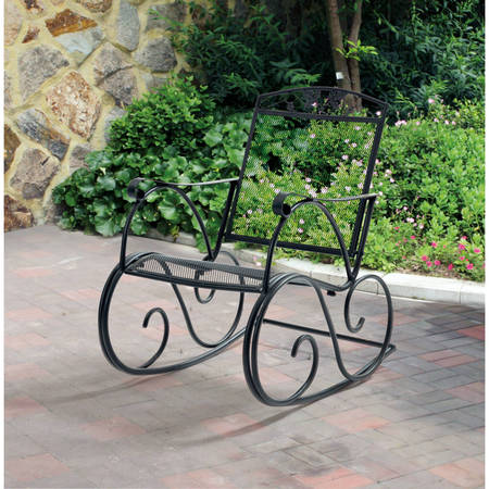 Mainstays Jefferson Outdoor Wrought Iron Porch Rocking - Corsican Iron Furniture