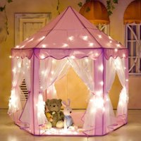 """Porpora Hexagon Princess Castle Play Tent Indoor for Kids Gift with 23ft star lights, X-Large, Pink 55""""x 53""""(DxH) 1 Pack"""