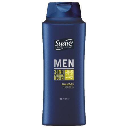 (2 Pack) Suave Men Citrus Rush 3-in-1 Shampoo Conditioner Body Wash, 28 oz