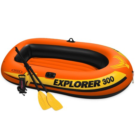 Intex Explorer 300 Compact Inflatable Fishing 3 Person Raft Boat w/ Pump & Oars - Inflatable Boat Kit