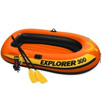 Intex Explorer 300 Compact Inflatable Fishing 3 Person Raft Boat w/ Pump & Oars
