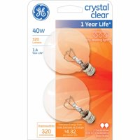 GE 40-Watt G16.5 Decorative Crystal Clear Bulb, 2-Pack