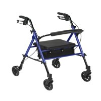 "Drive Medical Adjustable Height Rollator Rolling Walker with 6"" Wheels, Blue"