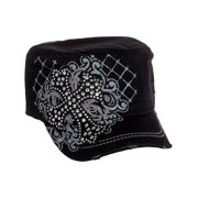 Black Cotton Rhinestone Cross Baseball Military Cadet Cap Hat New 22b4e8c77f00