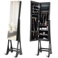 Costway LED Jewelry Cabinet Armoire Organizer Mirrored Standing w/ Bevel Edge Mirror
