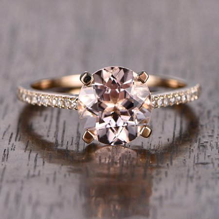 1.25 Carat Peach Pink Morganite (Round cut Morganite) and Diamond Engagement Ring in 10k Rose Gold, Women Engagement Ring