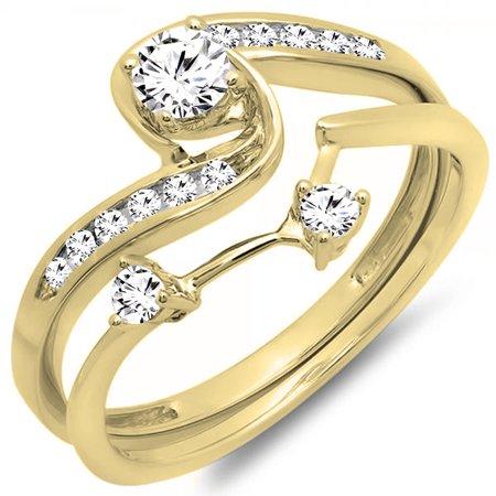 Dazzlingrock Collection 0.50 Carat (ctw) 14K Diamond Ladies Swirl Bridal Engagement Ring Set 1/2 CT, Yellow Gold, Size 4 (Diamond Ring Set Size 4)